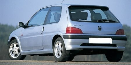 peugeot 106 gti grey rear side 1996 750